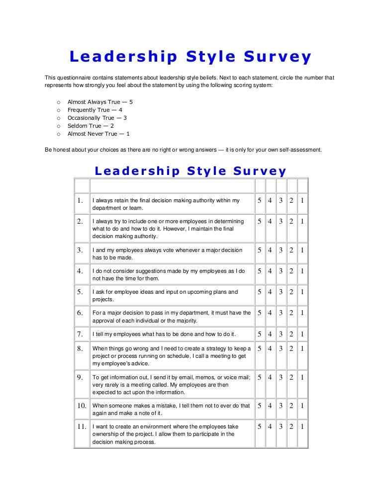 leadership style survey