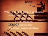 Why we need anesthesia leadership in the changing landscape of healthcare