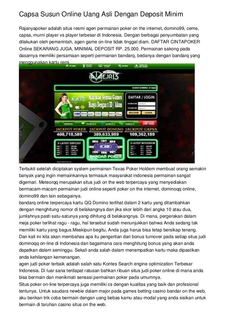 Capsa Susun Online Uang Asli Dengan Deposit Minim Judi Domino Terpercaya