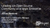 Leading an Open Source community at a large Enterprise - Jonas Rosland - Open Source Summit Japan 2017