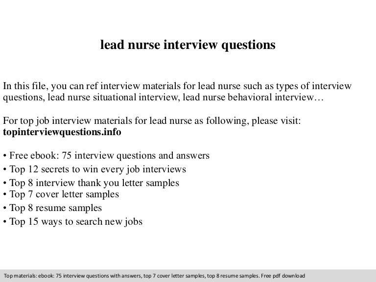 Lead nurse interview questions – Icu Nurse Job Description