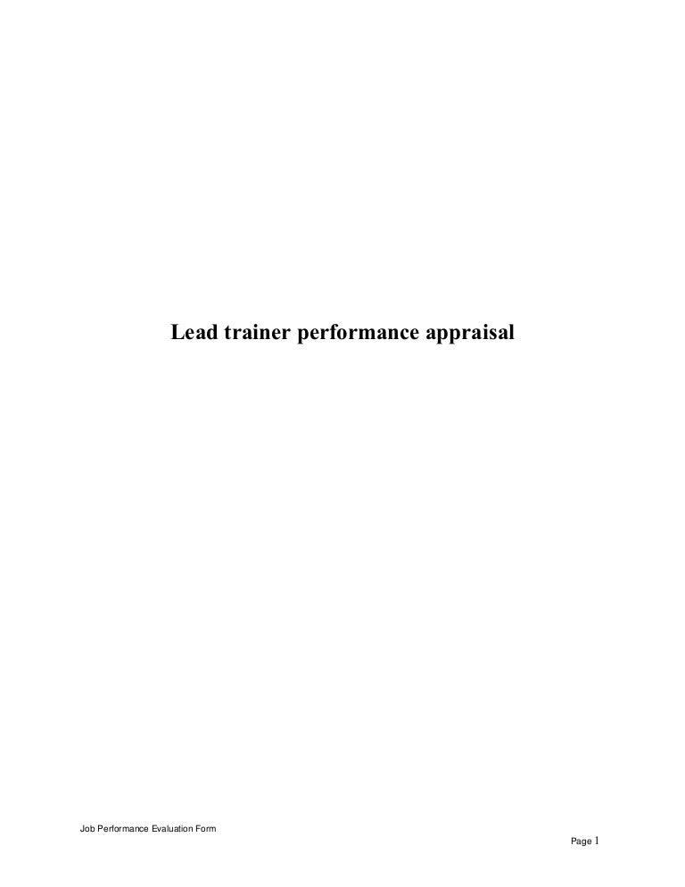 leadtrainerperformanceappraisal150514121519lva1app6892thumbnail4jpgcb 1431606709 – Evaluation Forms for Trainers