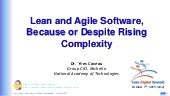 Lean and agile software because or despite rising complexity by Yves Caseau