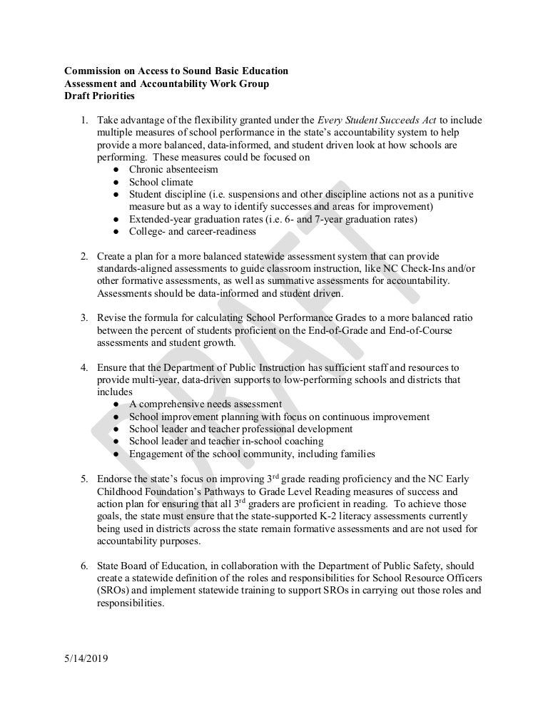 Leandro assessment accountability work group draft