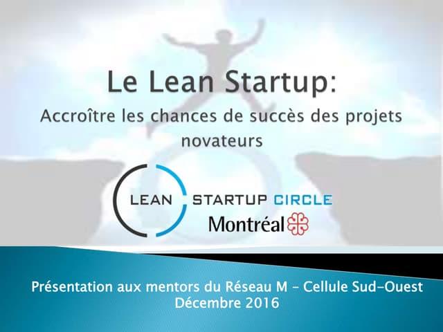 Lean startup    réseau m - cellule sud-ouest - dec 2016