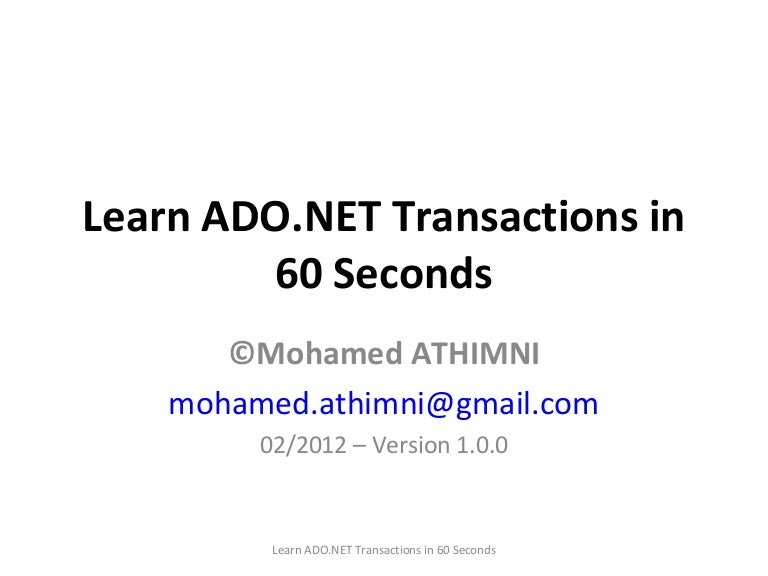 Using ADO.NET for beginners - CodeProject