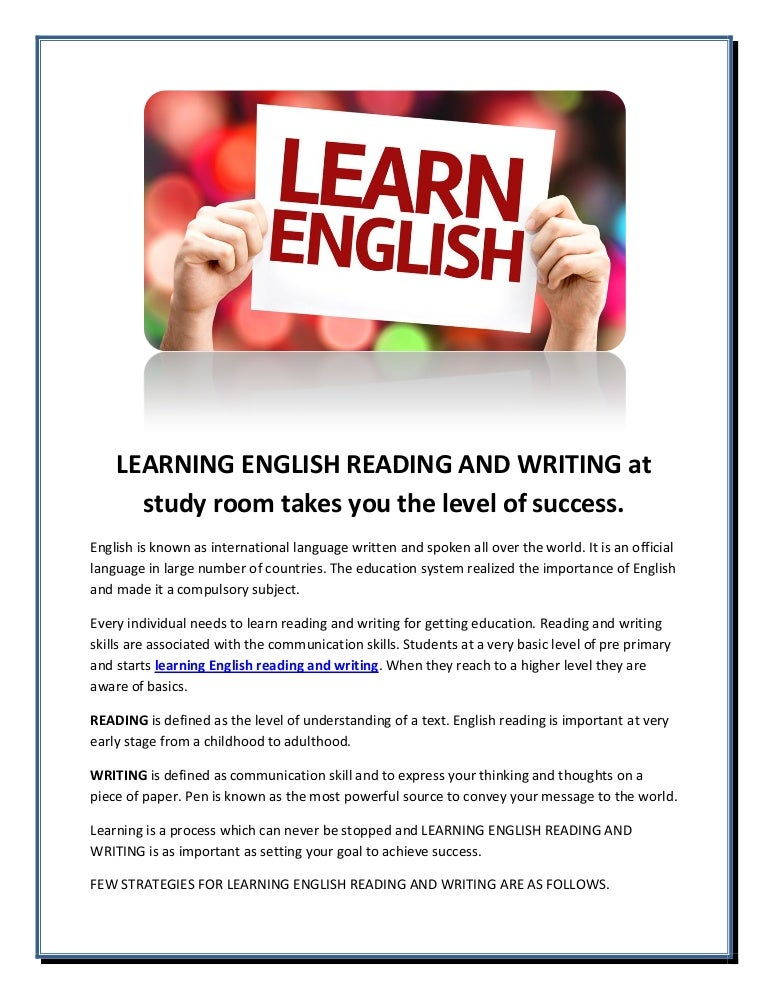 Learning english essay writing