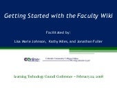 Getting Started with the Faculty Wiki (a MediaWiki)