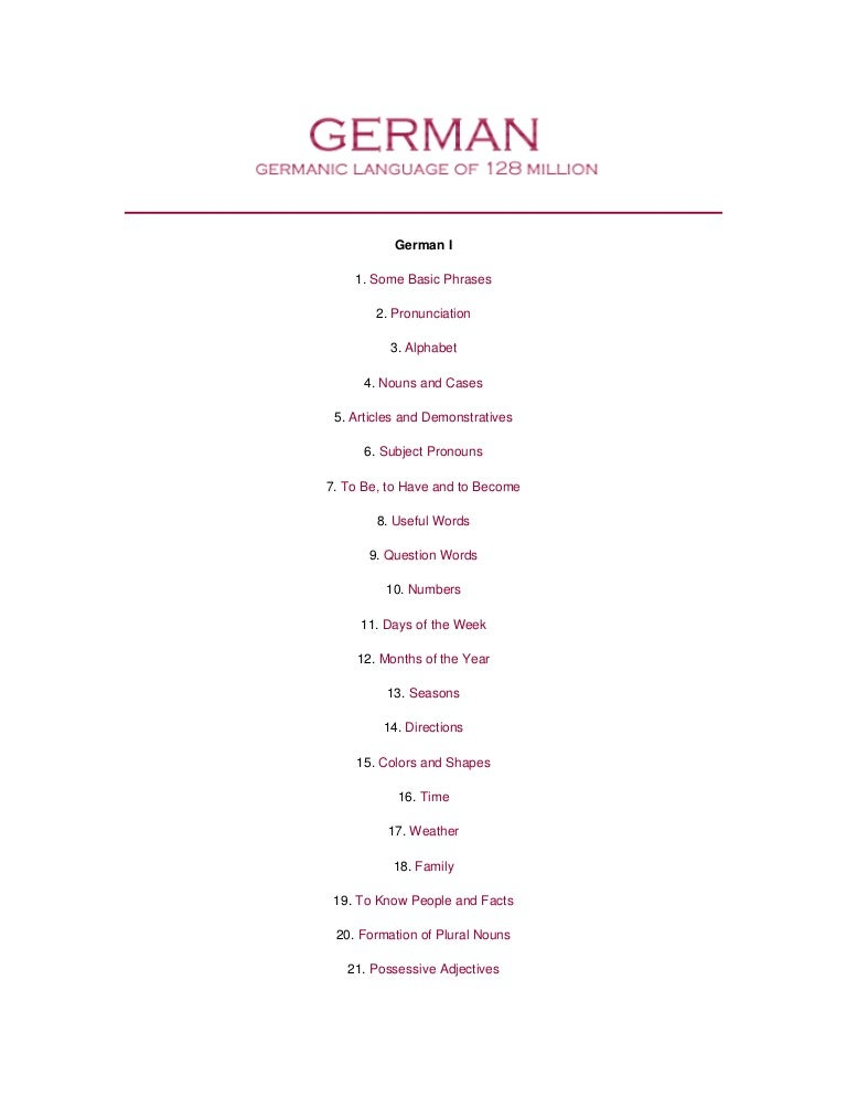Learning German Grammar Vocabulary
