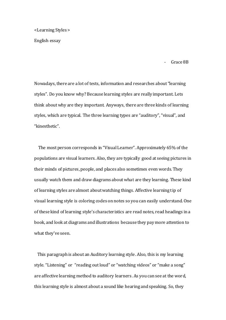 A Modest Proposal Ideas For Essays  How To Write Science Essay also Examples Of Essays For High School Essay Calamo Learning Styles And Resource Evaluations Essay  Argumentative Essay Papers