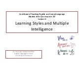 Learning styles and multiple intelligence