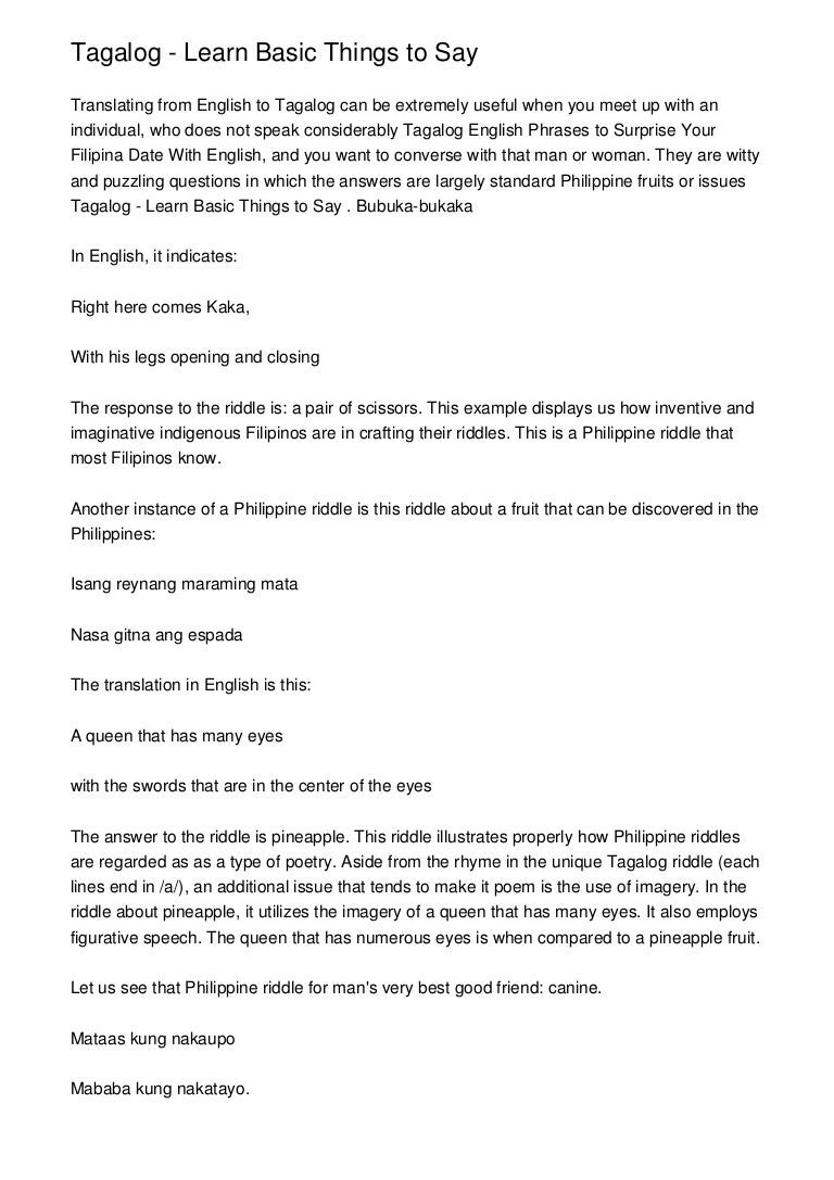 Tagalog - Learn Basic Things to Say