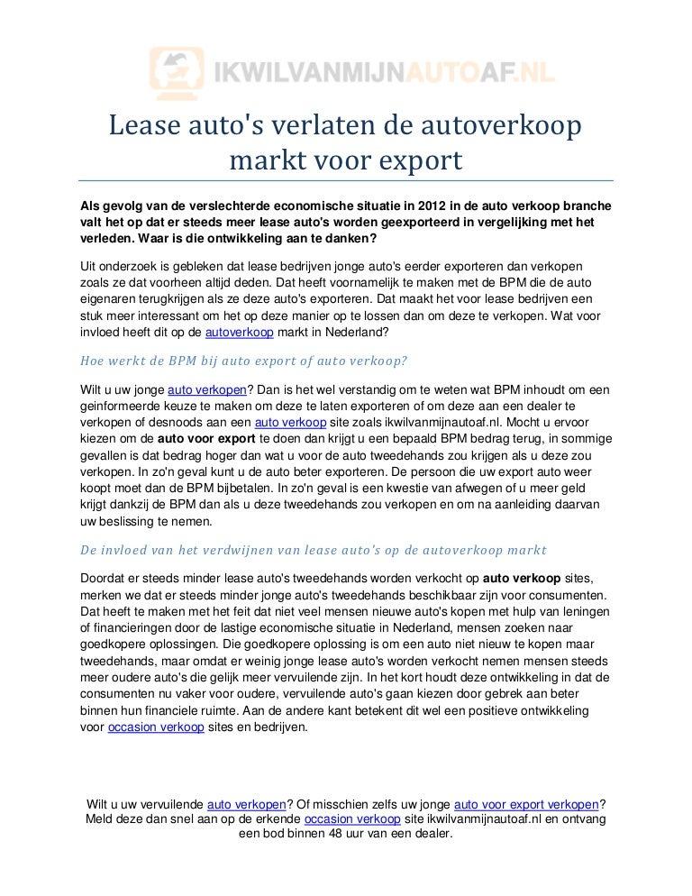 Lease Auto S Verlaten De Auto Verkoop Markt Voor Export