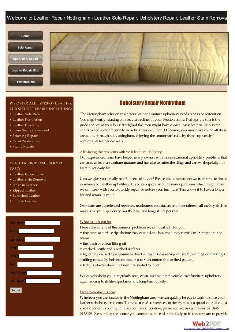 Leather Upholstery Repair >> Upholstery Repairs Nottingham