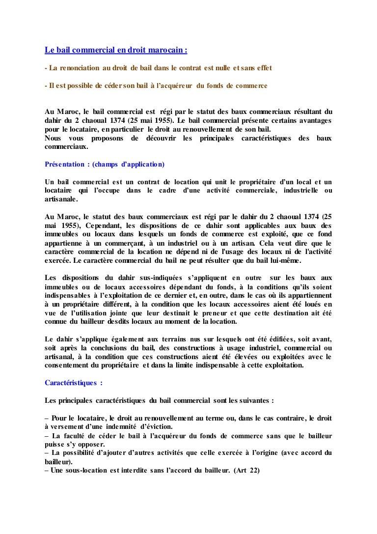 Le Bail Commercial En Droit Marocain