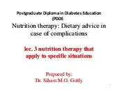 Lec 3 nutrition therapy that apply to specific situations