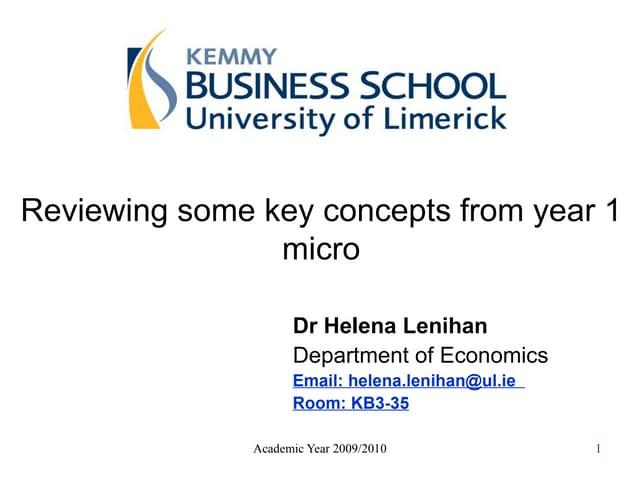 EC4004 Economics for Business Lecture 2