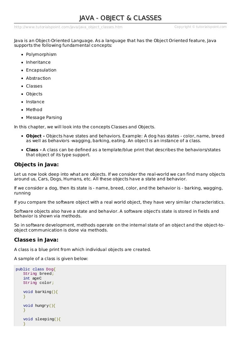 Lect 1 Java Object Classes