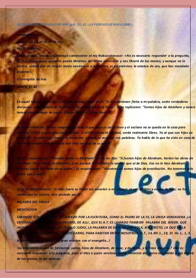 Lectio Divina Evangelio De Hoy Jn 8 31 42