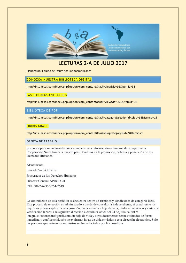 Lecturas 2 a de julio 2017