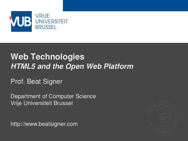 HTML5 and the Open Web Platform - Web Technologies (1019888BNR)