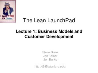 Lecture 1: Business Model & Customer Development