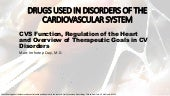 CVS Function, Regulation of the Heart and Overview of Therapeutic Goals in CV Disorders