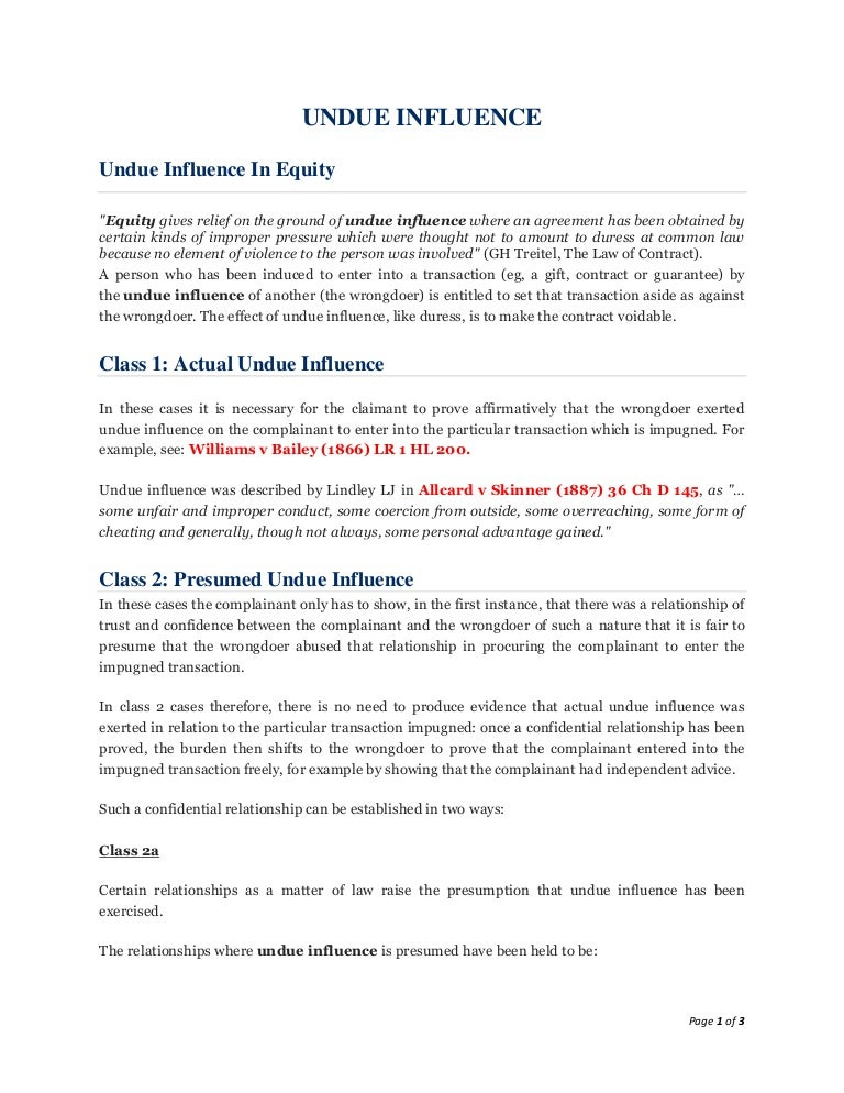 Lecture 14 Undue Influence Notes