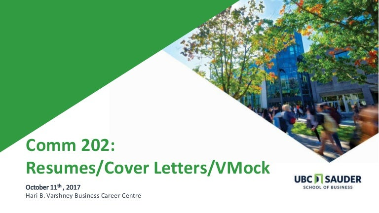 Comm 202 Resume, cover letter and vmock