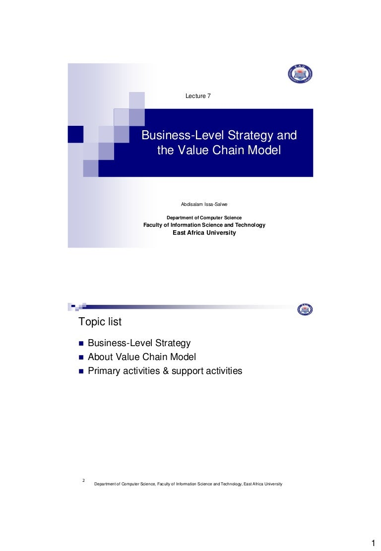Lecture 7 Business Level Strategy And The Value Chain Model