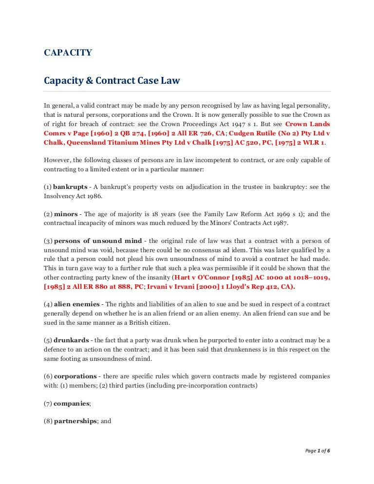 capacity in contract law