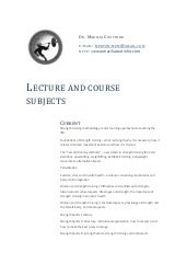 Lecture and course subjects - Dr. Marilia Coutinho