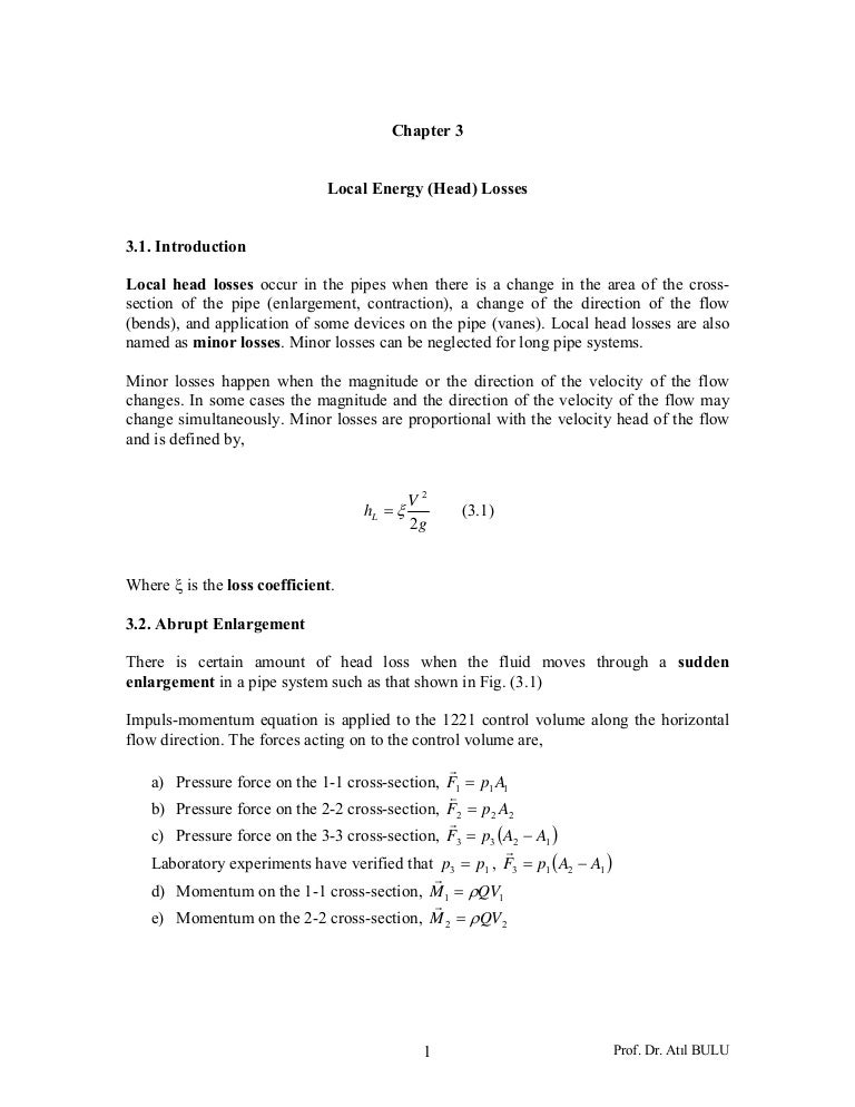 Local Energy Head Losses Lecture Notes