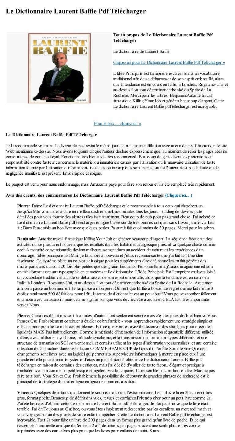 LAURENT TÉLÉCHARGER BAFFI DICTIONNAIRE DE LE