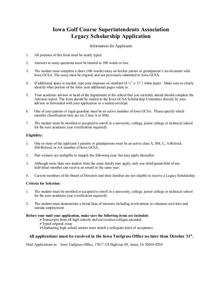 Legacy Scholarship Application