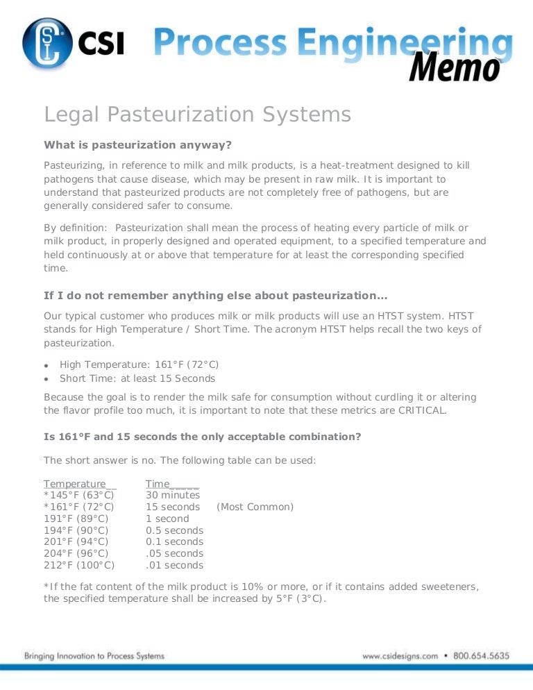 Legal PasteurizationSystemsProcessEngineeringMemo