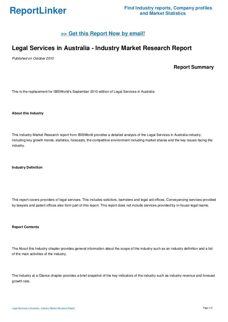 legal services in australia - industry market research report