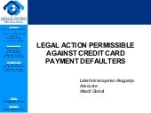 Legal action agaisnt credit card defaulters