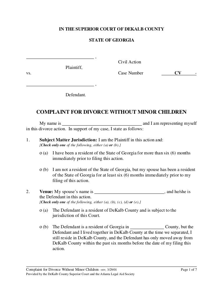 Legal Forms For Divorce