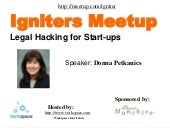 Legal Hacking for Startups with Donna Petkanics Igniters Meetup igniterSV.com