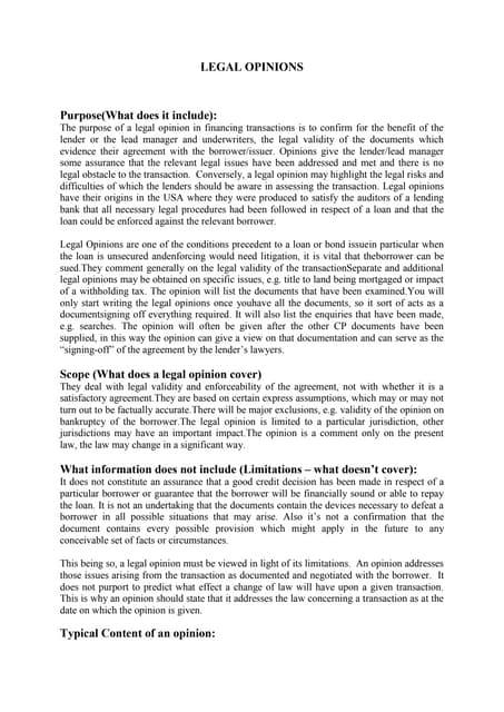 Legal Opinion Memorandum (SAMPLE)