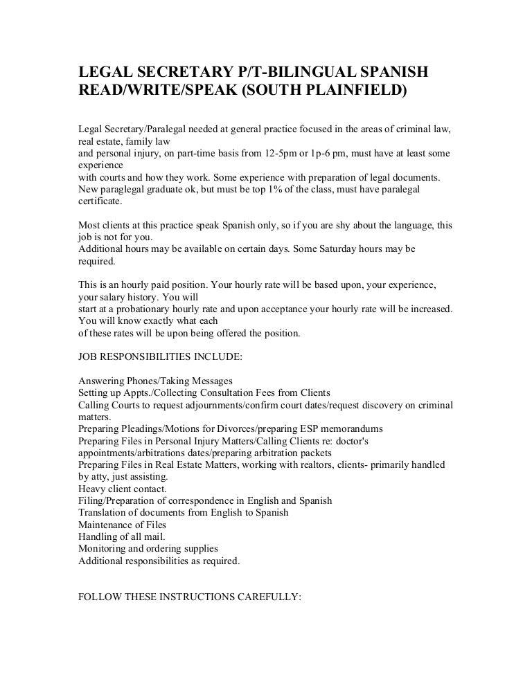 Legal Secretary Position(Description)