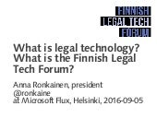Finnish Legal Tech Forum launch presentation