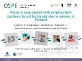 Factors associated with employment barriers faces by foreign-born nurses in Finland
