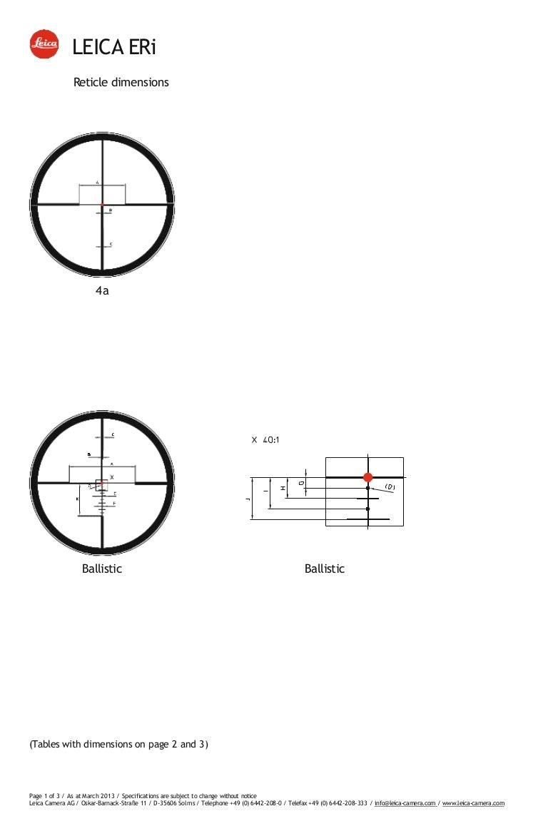 Technical data LEICA ERi Riflescopes Reticles Subtensions