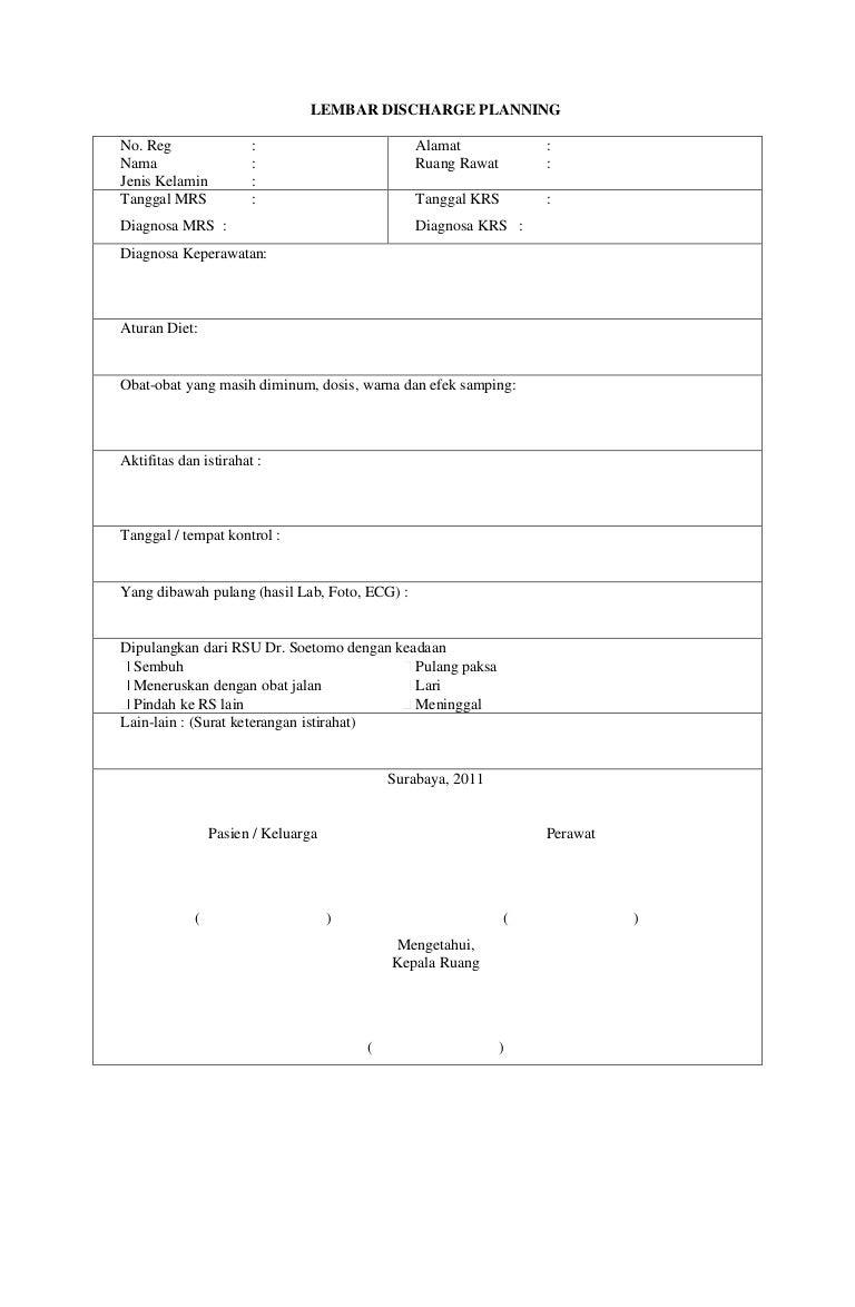 lembar discharge planning