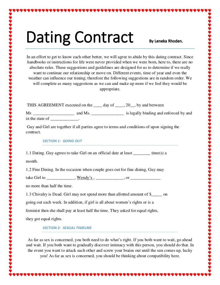 Agreement dating websites