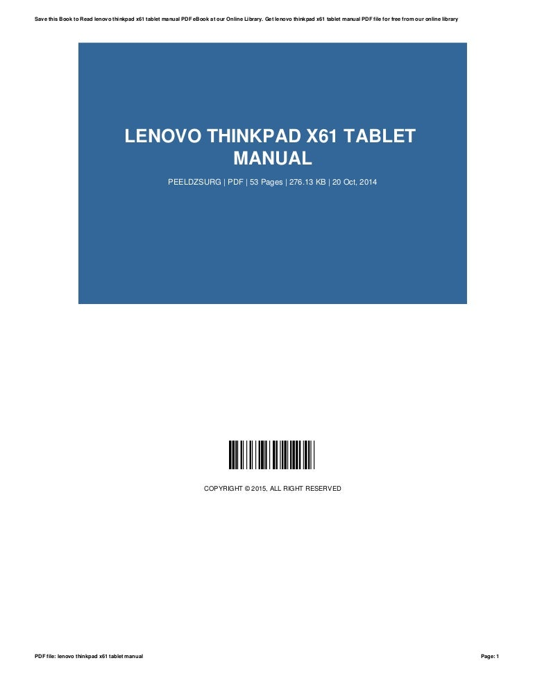 Lenovo thinkpad-x61-tablet-manual.