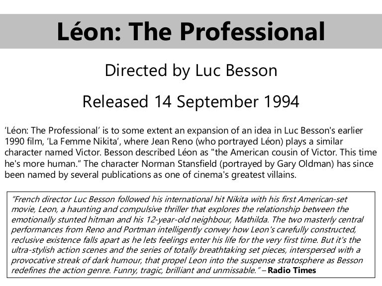 Luc Besson great Leon movie Léon The Professional t-shirt