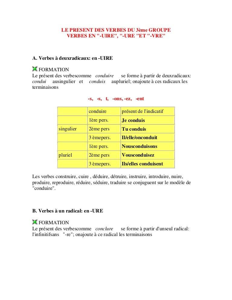 Le Present Des Verbes Du 3eme Groupe 5 1